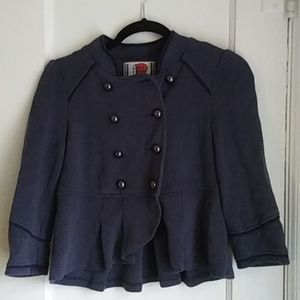 Free People Blue Military Style Jacket